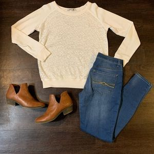Forever 21 White Lace Sweater Top Shirt Small
